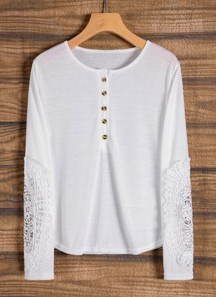 Round Neckline Solid Tight Regular Buttons Sweaters