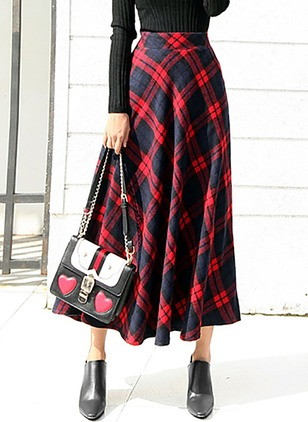 Polyester Check Mid-Calf Casual None Skirts
