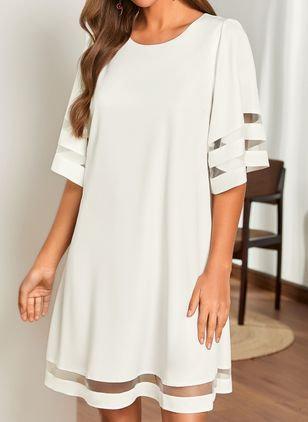 Casual Solid Tunic Round Neckline Shift Dress (1522564)