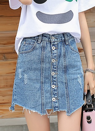 Denim Solid Above Knee Casual Buttons Skirts