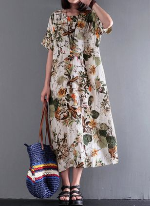 Plus Size Floral Round Neckline Casual Midi Shift Dress Plus Dress (1303188)