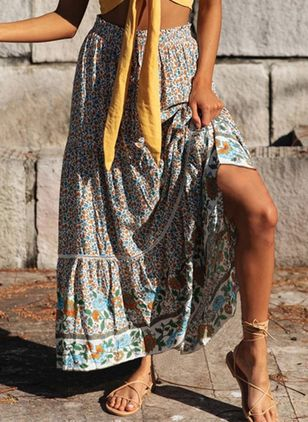 Floral Maxi Casual Skirts (146876957)