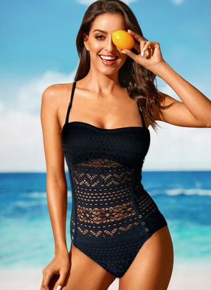 Polyester Solid One-piece Swimwear (146975519)