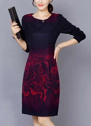Floral Zipper Pencil Knee-Length Sheath Dress