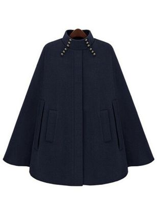 Long Sleeve Stand Collar Pockets Coats