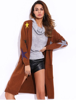 Wool & Wool Blend Long Sleeve Collarless Pockets Others Coats
