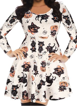 Halloween Color Block Round Neckline Above Knee X-line Dress (109556046)