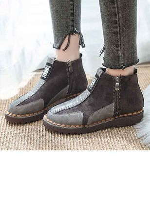 Zipper Ankle Boots Low Heel Shoes