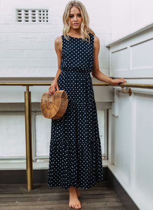 Polka Dot Tank Sleeveless Maxi A-line Dress