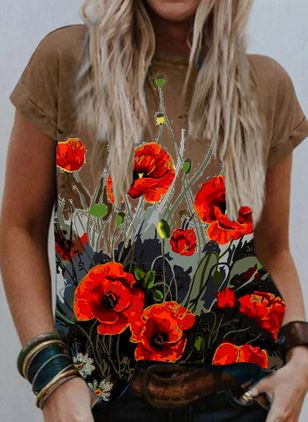 Floral Round Neck Short Sleeve Casual T-shirts (102931407)
