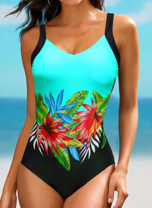 Polyester Floral One-piece Swimwear (147155927)