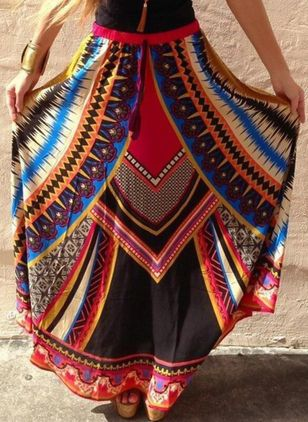 Color Block Maxi Elegant Skirts