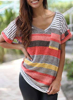 Color Block V-Neckline Short Sleeve Cute T-shirts