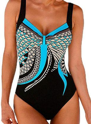 Polyester Geometric One-piece Swimwear (146950001)