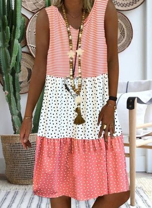 Casual Polka Dot Tunic V-Neckline A-line Dress (1543752)