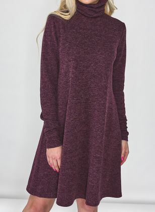 Casual Solid Tunic High Neckline Shift Dress