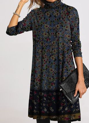 Casual Floral Tunic High Neckline Shift Dress (1398434)