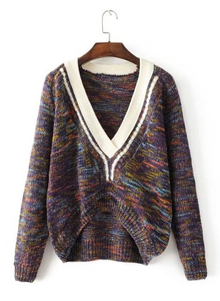 Knitted V-Neckline Color Block Loose None Sweaters