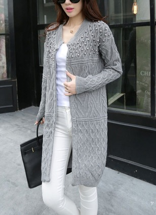 Polyester Long Sleeve Round Neck Appliques Coats