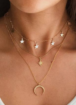 Casual Moon Star Crystal Pendant Necklaces (100668895)