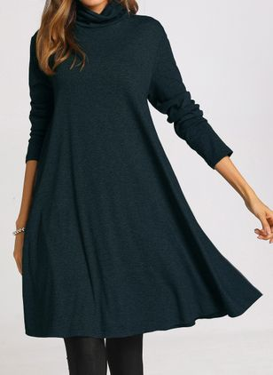Casual Solid Long Sleeve Knee-Length Dress (1106468)