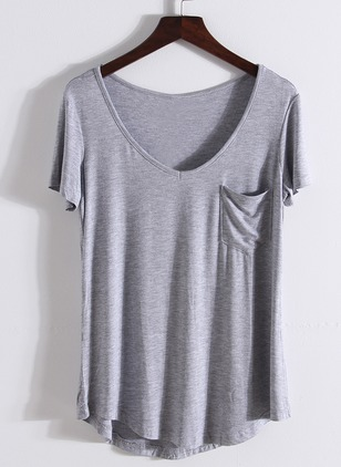 Modal Solid Round Neck Short Sleeve Casual T-shirts