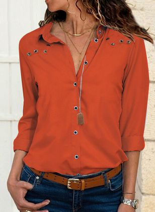 Solid Casual V-Neckline Long Sleeve Blouses (4355841)