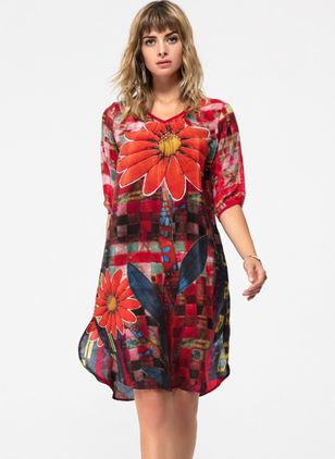 Casual Floral None V-Neckline A-line Dress (1056555)