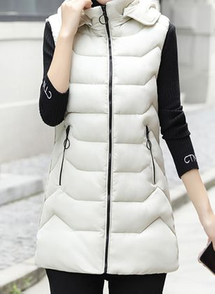 Long Sleeve High Neckline Zipper Pockets Parkas Sleeveless Coats (110517010)