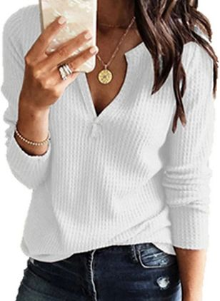 V-Neckline Solid Casual Loose Regular Shift Sweaters (100772089)