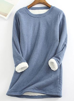 Solid Round Neck Long Sleeve Casual T-shirts (111798631)