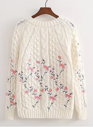 Cotton Round Neckline Floral Loose None Sweaters