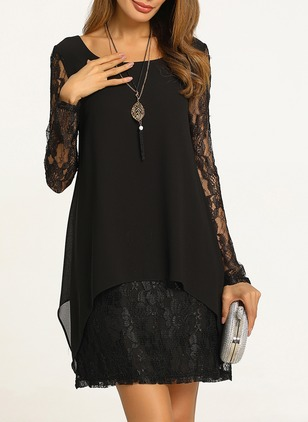 Solid Hollow Out Long Sleeve Above Knee A-line Dress