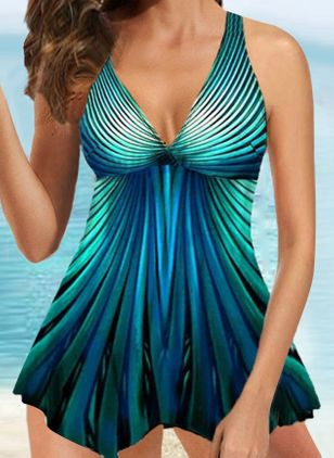 Polyester Color Block Tankinis Swimwear (1539296)