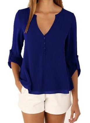 Solid Casual Polyester V-Neckline Half Sleeve Blouses