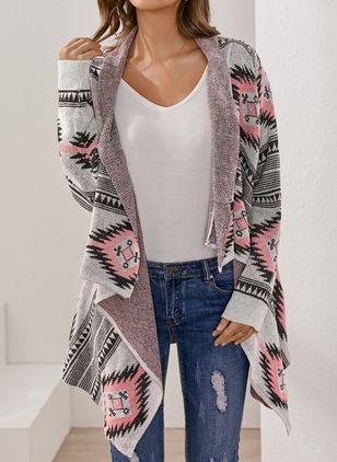 Long Sleeve Collarless Sweaters Coats (100447143)