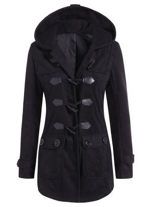 Long Sleeve Hooded Buttons Pockets Duffle Coats