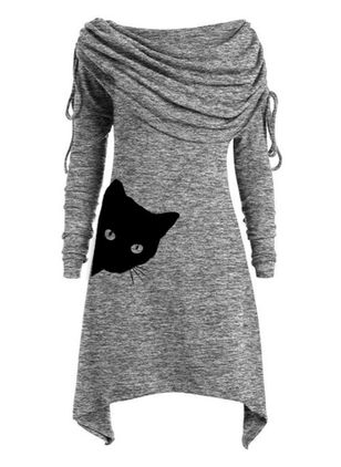 Casual Animal Tunic Round Neckline A-line Dress (109973437)
