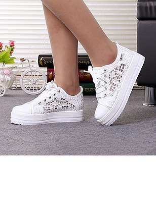 Hollow-out Others Platform Canvas Low Heel Shoes
