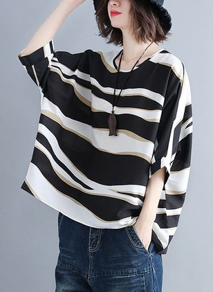 Plus Size Color Block Casual Round Neckline 3/4 Sleeves Blouses
