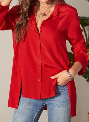 Solid Casual Collar Long Sleeve Blouses (1282255)