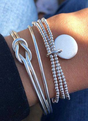 Casual Round No Stone Bangle Bracelets (4038914)