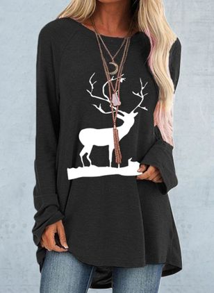 Animal Christmas Round Neckline Long Sleeve Blouses (110711386)