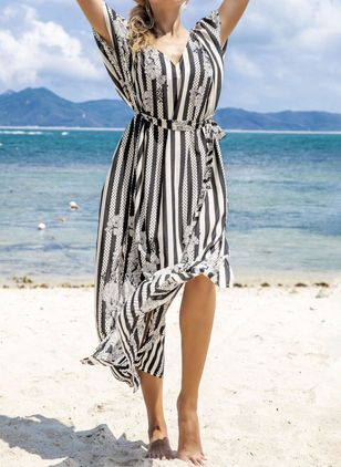 Plus Size Cover-Ups Polyester High Waist Stripe Plus Swimwear (4072533)