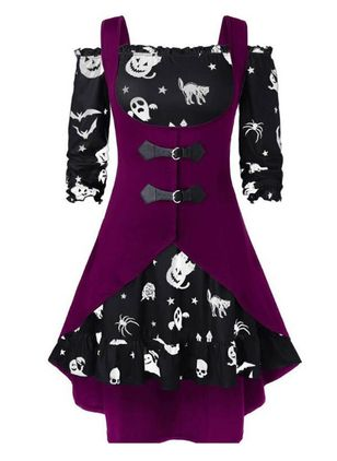 Halloween Color Block Skater Square Neckline X-line Dress (111109541)