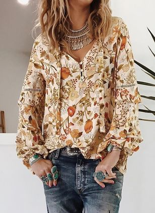 Floral Cute V-Neckline Long Sleeve Blouses