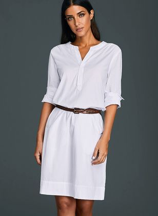 Solid Pockets Wrap Knee-Length Shift Dress