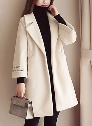 Long Sleeve Lapel Pockets Coats