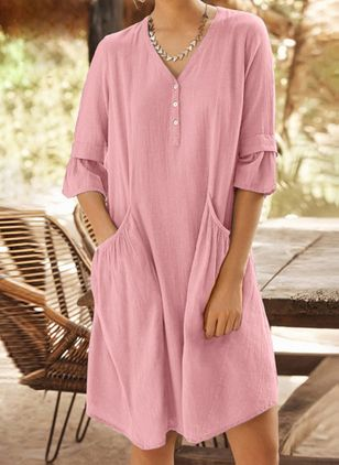Casual Solid Tunic V-Neckline Shift Dress (106154000)