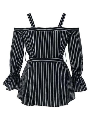 Plus Size Stripe Casual Camisole Neckline Long Sleeve Blouses